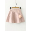 Chic Simple Plain High Waist A-Line Mini Skirt