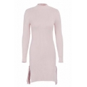 Trendy Long Sleeve Simple Plain Bodycon Tie Side Knitted Dress