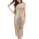 Fashion Tassel Sequined Embellished Round Neck Open Back Bodycon Dress