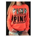 Leisure Letter Print Long Sleeve Round Neck Pullover Sweatshirt