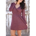 Fashion Simple Plain V-Neck Long Sleeve Wrap T-shirt Mini Dress