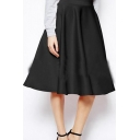 Women's Simple Plain High Rise Swing Midi Skirt