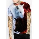 Trendy 3D Wolf Pattern Short Sleeves Round Neck Pullover Casual Tee
