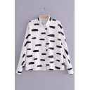 New Arrival Lapel Printed Single Breasted Long Sleeve Shirt