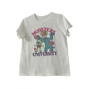 Trendy Letter Monster Print Round Neck Short Sleeve Tee