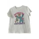 Trendy Letter Monster Print Round Neck Short Sleeve Tee