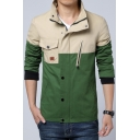 Stylish Color Block Long Sleeves Single-Breasted Zippered Utility Jacket with Pocket