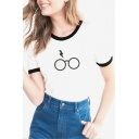 Fancy Eyeglasses Glasses Lightning Printed Round Neck Contrast Trimmed Short Sleeves Casual Tee