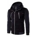 Simple Zipper Detail Color Block Long Sleeves Casual Hoodie with Pockets