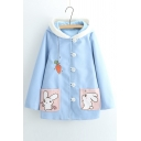 Adorable Rabbit Carrot Pattern Button Down Long Sleeve Hooded Coat with Pockets