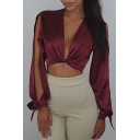 Popular Plunge Neck Long Balloon Split Sleeves Twist Front Cropped Blouse