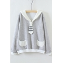 Fashion Embroidered Pattern Contrast Collar Long Sleeve Pullover Sweatshirt