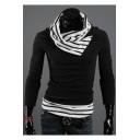 New Stylish Patchwork Draped Neck Long Sleeve Color Block Sweater