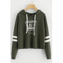 Chic Drink Letter Pattern Striped Long Sleeves Pullover Casual Hoodie