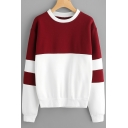 Natural Style Color Block Round Neck Long Sleeves Pullover Loose Sweatshirt