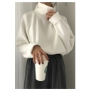 Chic Simple Plain High Neck Long Sleeve Loose Pullover Sweater