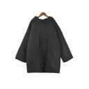 Simple Plain Leisure Hooded Zip Placket Long Sleeve Coat