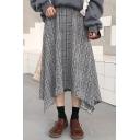 Vintage Plaid Pattern Asymmetric Hem A-Line Midi Skirt