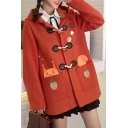 New Fashion Leisure Cartoon Print Long Sleeve Hooded Buttons Down Coat