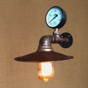 Industrial 11.42''W Wall Sconce with Pressure Gauge and Saucer Metal Shade, Rust