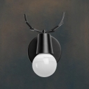 Industrial Mini Wall Sconce with Antler Shape Fixture Arm in Black/White