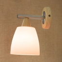 Industrial Wall Sconce with White Glass Shade and Metal Fixture Arm