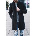 Men's Fashion Long Sleeves Notched Lapel Button-Down Longline Plain Blazer