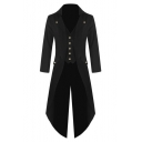 Gothic Notched Lapel Long Sleeves Long Sleeves Tuxedo Blazer with Button-Down Vest & Flap-Pockets