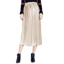 Fashion Simple Plain Pleated Midi Skirt