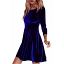 Simple Plain Round Neck Long Sleeve A-line Velvet Mini Dress