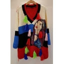 Color Block Cartoon Lady Pattern Long Sleeve V-Neck Pullover Sweater
