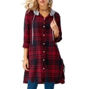 Fashion Plaid Contrast Hooded Long Sleeve Buttons Down Tunic Shirt