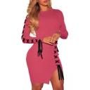 Sexy Fashion Crisscross Split Side Long Sleeve Bodycon Mini Dress