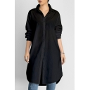 Chic Simple Plain Lapel Long Sleeve Buttons Down Tunic Shirt