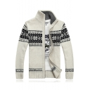 Warm Winter's Snowflake Pattern High Neck Long Sleeves Zippered Cardigan