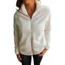 New Stylish Zip Up Long Sleeve Simple Plain Jacket