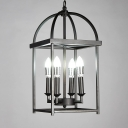 Industrial 10''W Chandelier with 4 Light in Open Bulb Style, Black