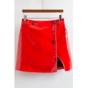 Simple Plain Faux Leather Split Side Button A-Line Mini Skirt