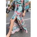 Pohemian Floral Print Split Side A-Line Maxi Skirt
