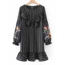 Fashion Embroidered Striped Ruffle Hem Round Neck Long Sleeve Shift Mini Dress
