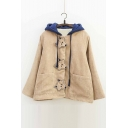 Adorable Fox Wolf Pattern Button Down Long Sleeves Fur Padded Color Block Hooded Coat with Pockets