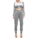 Trendy Velvet Cropped Long Sleeves Zippered Hoodie with Elastic Waist Loose Pants