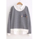 Stylish Stripe Lapel Long Sleeve Embroidery Detail Paneled Pullover Sweatshirt