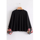 New Fashion Floral Pattern Long Sleeve Round Neck Blouse