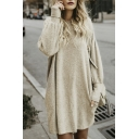 Chic Round Neck Long Sleeve Plain Leisure Sweater Mini Dress