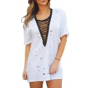 Trendy V-Neck Crossed Strappy Front Short Sleeves Cutout Hollow Mini T-shirt Shift Dress