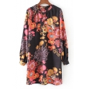 Chic Color Block Floral Pattern V-Neck Long Sleeve Leisure Mini Shift Dress