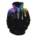 Digital Color Block Butterfly Print Pocket Long Sleeve Hoodie for Couple
