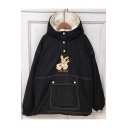 Lovely Cartoon Pattern Button Long Sleeve Hooded Warm Coat
