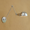 Industrial Wall Lamp with Adjustable Fixture Arm in Nordical Style, Chrome